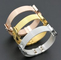 Wholesale Stainless Steel Jewelry For Womens - High quality Famous brand Adjustable Bracelets Stainless Steel Mesh Bangles fine Jewelry Charm jewellery for mens womens gift