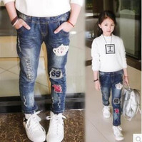 Wholesale Chinese Fashion Jeans - c2016 spring and autumn new kids clothing street fashion casual jeans pants, Cartoon image girls jeans hildren pants