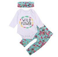 ingrosso fiore zebra-Pagliaccetto floreale del bambino del pagliaccetto del bambino di vendita calda + headbnd + pants 3pcs / set tuta del fiore selvatico di lettre con la fascia del bowknot