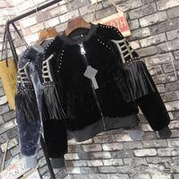 Wholesale stylish women winter coats - Wholesale- Korean Winter Fashion Rivet Patchwork Women Coats Long Sleeve Casual Loose Jackets Tassel Stylish Warm Thick Coat 63355