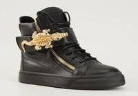 botas italianas hombres botas al por mayor-Envío de la gota del diseñador italiano a estrenar de las mujeres zapatos casuales hombres Zapatillas de deporte de cuero genuino con cordones botas altas entrenadores arranque