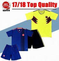 Wholesale Custom Wholesale Football Jerseys - DHL-2018 Colombia set soccer jersey 17 18 Custom name FALCAO JAMES CUADRADO TEO BACCA football shirts Mix Order