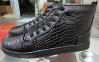 precios de zapatillas al por mayor-Zapatillas de deporte de piel de serpiente Python Red Bottom Luxury Designer High Top Skate Flats para mujer de los hombres ocasionales a estrenar precio al por mayor 36-46