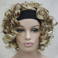 Купить Половина Парики Блондинка Вьющиеся-ynthetic Hair Wigs StrongBeauty Short Synthetic Women Blonde / Brown Curly Wigs 3/4 Half Wig With Headband для Lady African Amrican Black W ...