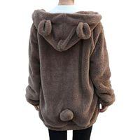 Wholesale White Hoodie Cute Bear - 2016 Fashion Women Cute Lovely Bear Ear Fleece Warm Sweatshirts Long Sleeved Drop Shoulder Hooded Hoodies Casual Coat Outwear