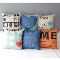 Wholesale Valentine Pillow Throw - 45cm Fresh Blue Heart Valentine Day Cotton Linen Fabric Throw Pillow 18inch Handmade New Home Office Bedroom Decoration Sofa Back Cushion