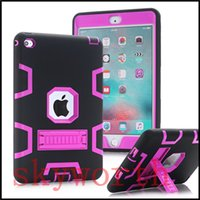 Wholesale Ipad Mini Silicon Cases - shockproof case kick off stand military Extreme Heavy Duty tpu silicon cover for ipad mini 1 2 3 4
