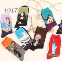 freiheitskunst großhandel-Kunst Stil Socke Frauen Vintage Freiheitsstatue Mona Lisa Sternenhimmel Kuss Socking Liebhaber Mittelrohr Socken 2 teile / para CCA7703 100 paar