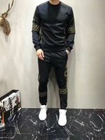 Wholesale Crows Foot - Europe and the United States tide brand gold embroidery men's suits 2017 autumn new personality crew neck sweater foot pants two-piece suit