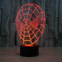 enmascarar a los niños diy al por mayor-Creativo fantástico máscara del hombre araña 3D llevó la lámpara de luz de la habitación decoración de luz de la noche para niños de niños durmiendo lámpara llevó la lámpara