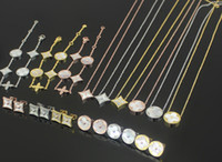Wholesale Gold K Charm - wholesale trade round square four White Shell Bracelet fashion 18 K gold pendant bracelet