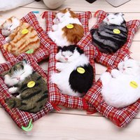 Arte Del Gato De Halloween Baratos-Lovely Simulation Animal Doll Felpa para dormir Gatos Toy Simulation Sleeping Cat Craft Doll Toy Christmas Regalos de cumpleaños