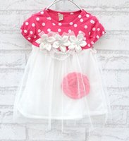Wholesale Girl Vest Lace Dress Winter - Girls dress Dot princess New style Striped Vest Dress Sets Lace Pattern Bowknot Top+Pants Baby Girls Clothes Children's Costumes Princess