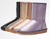 Wholesale Plus Size Calf Boots - Plus Size 35 To Size 44 45 Lavender Gold Waterproof Snow Boots Womens Genuine Leather Boots