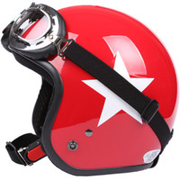 Wholesale Half Helmet Goggles - TT#21 Taiwan S-Y-C Free Shipping ABS Open Face Helm Cycling Scooter Casco Motorcycle Gloss Red With White Star Helmet & Summer Goggles Adult