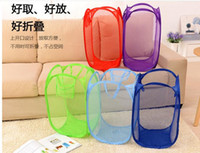 Wholesale Ups Home Use - New Mesh Fabric Foldable Pop Up Dirty Clothes Washing Laundry Basket Bag Bin Hamper Storage for Home Housekeeping Use