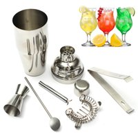 Wholesale Bar Sets Cocktail Shaker - New 5pcs  Set 550ml Stainless Steel Cocktail Shaker Mixer Drink Hawthorn Strainer Ice Tongs Mixing Spoon Measure Cup Bar Tool Kit