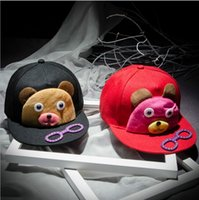 Wholesale Cap Teddy Bear - Children's cartoon baseball cap hip-hop fashion personality Teddy Bear glasses flat brimmed bonnet for men and women
