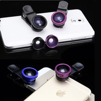 Wholesale Lens Wholesale - Universal Clip 3 in 1 Fish Eye Lens Wide Angle Macro Smart Phone Camera Glass Lens Fisheye Clip-on For iPhone Samsung Cheap Price DHL Ship