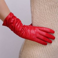 Wholesale Red Leather Opera Gloves - Free Shipping 2016 Fashion Winter Women Sheepskin Leather Gloves Wrist Solid Red Thermal Genuine Lambskin Driving Glove L010nc