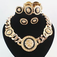 Wholesale Chunky Engagement Rings - Rihanna Chunky Black Enamel Lion Head Statement Necklace Earring Bangle Ring Jewelry Sets Gold And Silver 2 Colors