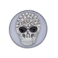 Wholesale Crystal Skulls For Sale - NSB2635 Hot Sale 2 Colors 18mm Snap Buttons Fashion DIY Charms Metal Snaps For Button Jewelry Crystal Unique Skull Design