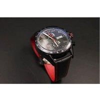 Wholesale Calibre Digital - New Men's Special Edition Black Dial TAG Quartz -watch 2016 Chronometer Black Case Calibre 16 Black Leather Stopwatch Digital Movement Watch