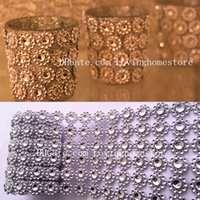Wholesale Candles Ribbon - 3 Yards 2.7M Sunflower Diamond Shape Mesh Wrap Roll Faux Crystal Ribbon Wrap Trim Looking Rhinestone Cake Candle Decor