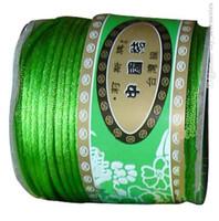 Wholesale 2mm Nylon Satin Rattail - 2mm Apple Green Nylon Cord Jewelry Findings Accessories Rattail Satin Thread Macrame Rope Shamballa Bracelet Strings 50m Roll
