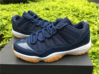Wholesale Free Gum - Cheap Wholesale Retro 11 Blue Navy Low Midnight Navy Gum Mens Basketball Shoes High Quality Sports Shoes 11 Free Shipping 528895-405