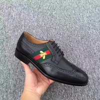 Wholesale Man Black Formal Shoes - Top Quality brand g Formal Dress Shoes For Gentle Men Black Genuine Leather Shoes Pointed Toe Men's Business Oxfords Casual Shoes