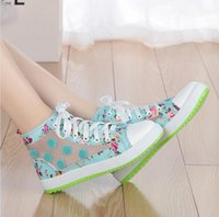 Wholesale Canvas Flower Korean Shoes - spring and summer cutout women's shoes breathable canvas shoes female flat Korean sweet flower shoes high shoes network