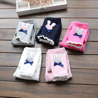 Wholesale Kids Under Pants - 2016 children spring autumn leggings trousers girl rabbit lace butterfly trousers baby cotton tights pants kids safe under wear leisure B005