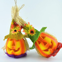 Flashing Pumpkin Scarecrow em forma de luz Cute Light Up Night Light Decoração de festas de Halloween Suprimentos