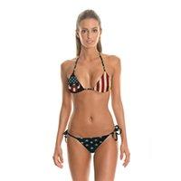 Wholesale Sexy Flag Bikini Bottoms - Newest Swimsuit Hot Summer Sexy Bikini Fashion Swimwear American flag printing Print bra and bottom biquini Bikinis Set