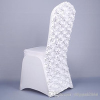 fundas de silla rosa al por mayor-Top Quality Wedding Chair Covers 3D Rose Flor Universal Stretch Spandex Chair Covers para Bodas Decoración Banquete Accesorios