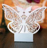 Wholesale Candy Gift Animal - Hotsale 100pcs lot Laser Cut Butterfly shape Candy box Paper Gift Boxes Party Favors Decoration