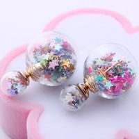 Wholesale Double Heart Silver Earrings - 2016 new fashion brand jewery elegant double imitation pearl stud earrings for women glass beads ball earrings free shipping