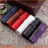 Wholesale roll up pencil cases resale online - Vintage Retro Roll PU Leather Make Up Cosmetic Pen Pencil Case Pouch Purse Bag for School
