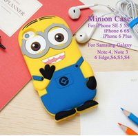 Wholesale Case Galaxy Note Minions - Cartoon Soft Silicone Rubber Minion Stand Cover Case For iPhone SE 5 5S 4 4S 6 6S 6Plus Samsung Galaxy Note 4 3 6Edge S6 S5 S4 MOQ:10pcs