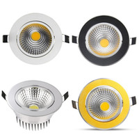 Wholesale Cob Down Lights - (Silver White Golden Black) Newest Dimmable Led Downlights 9W 12W 15W COB Led Down Light Recessed Ceiling Light AC 85-265V + CE ROHS UL