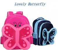 Wholesale Blue Zoo - Waterproof Butterfly Kids Zoo cartoon Backpack School Bag Backpack Baby Children Lunch Bag For Boys Girls Free Shipping