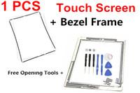 3m haftender aufkleber ipad großhandel-Für iPad 2 3 4 Touchscreen Glas Digitizer Assembly mit Home-Taste 3M Klebstoff Kleber Aufkleber Öffnungswerkzeuge + Rahmen Ersatz Ersatzteile