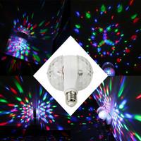 Wholesale led multicolor bulbs online - 6W E27 Rotating LED Strobe Bulb Multicolor Crystal Stage Light Magic Double Balls Led Bulb RGB Stage Light Party Lamp Disco Christmas Light