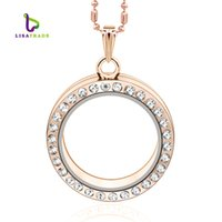 Wholesale Rose Gold Floating Locket Wholesale - 30mm Rose Gold Round magnetic glass floating charm locket Zinc Alloy+Rhinestone (chains included for free)LSFL01-3