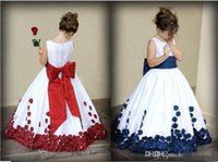 Wholesale Rose Flower Girls Dress - Flower Girl Dresses With Red And White Bow Knot Rose Taffeta Ball Gown Jewel Neckline Little Girl Party Pageant Gowns 2016 Fall New