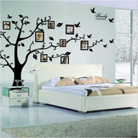 Wholesale photo adhesive decal - Free Shipping:Large 180*250Cm 79*99in Black 3D DIY Photo Tree PVC Wall Decals Adhesive Family Wall Stickers Mural Art Home Decor