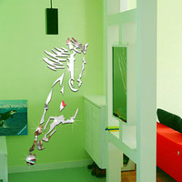 Wholesale Horse Bathroom - Horse Sticker DIY Mirror Wall Clock Wall Sticker Home Decoration