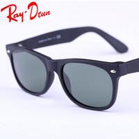 Wholesale 52mm Uv - RayDtun Hot Sale New Classical Sun Glasses matte black TORTOISE frame Glass UV protection G15 Green BLUE RED GREEN lens Sunglasses 52mm 55mm