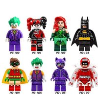 Wholesale Plastic Toy Bat - New 8pcs set PG8032 Action Minifigures Bat Movie Super Hero Wolverine Dead pool Clown Catwoman Building Blocks Kids Toys Gift